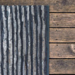 Small Blue and Silver Recycled Leather Rug