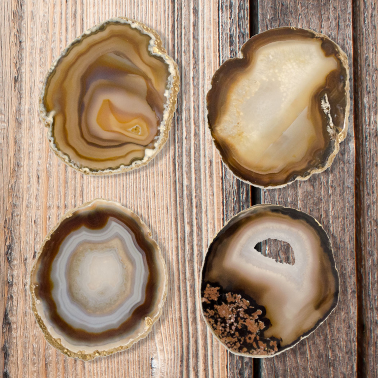 Gilded Natural Agate Coasters