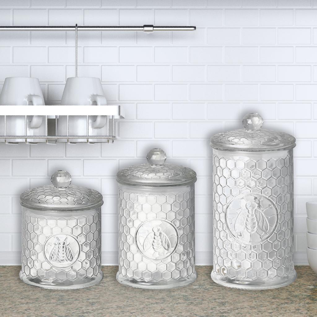 Honey bee storage jar small curiosity home for Glass jar kitchen ideas