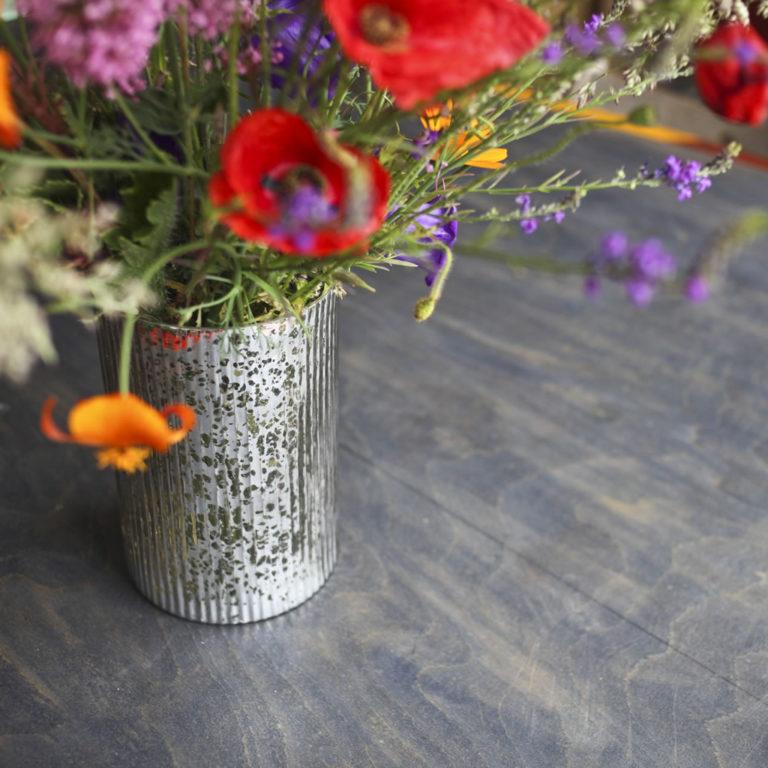 Evie silver vase & hurricane