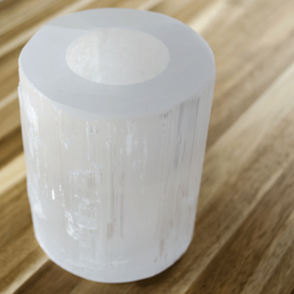 Polished Selenite Crystal Candle Holder