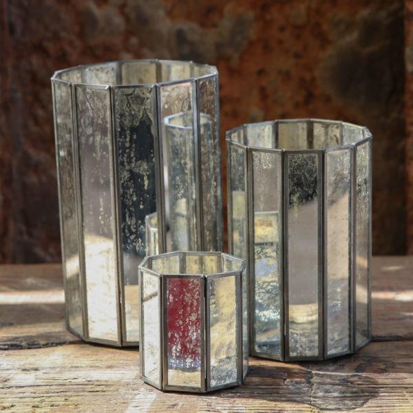 Riba Mirrored Silver Lantern