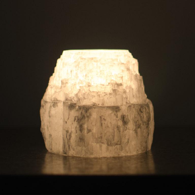 Rough Selenite Crystal Candle Holder