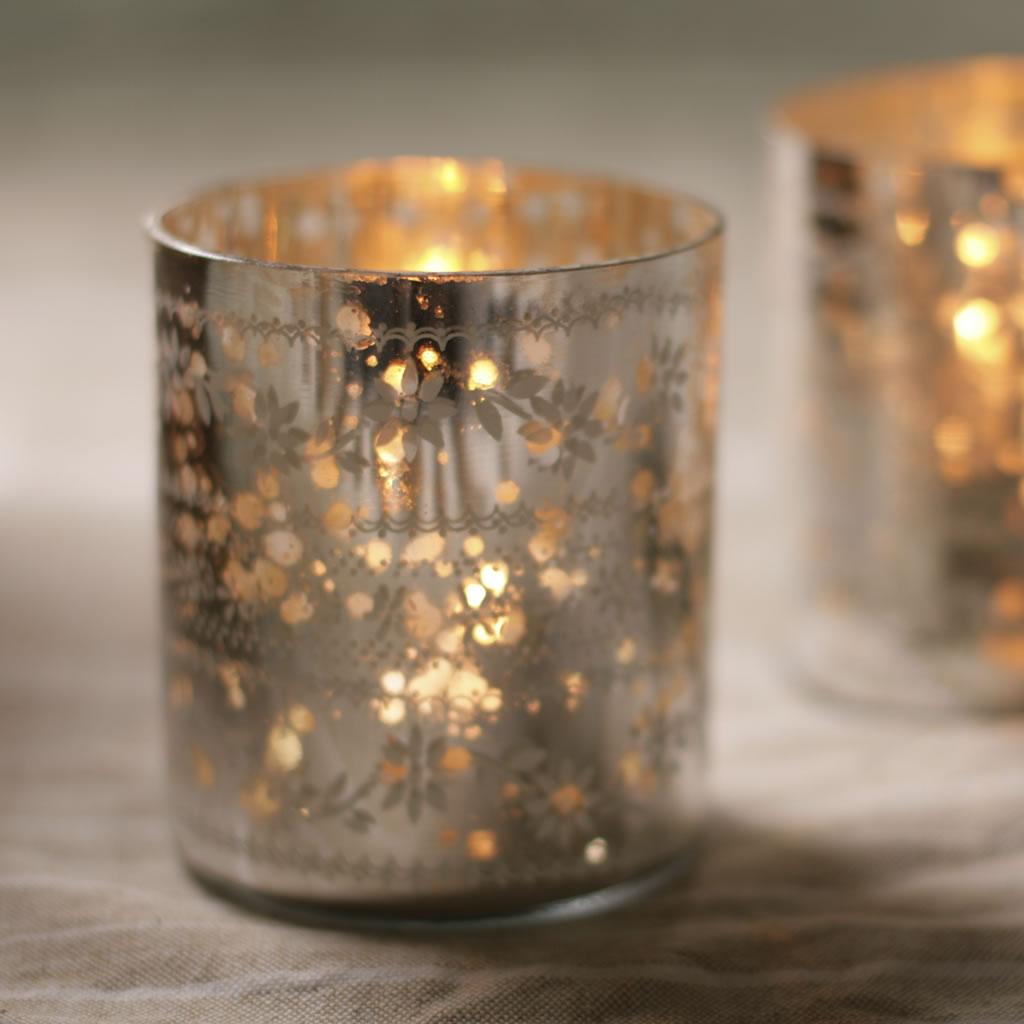Sparkling silver tea light holders curiosity home