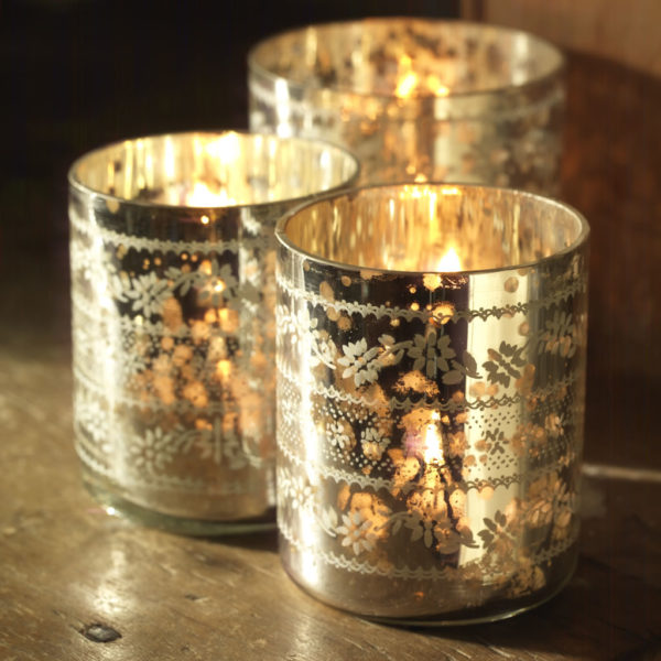 Sparkling Silver Tea Light Holders