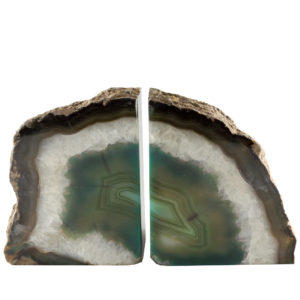 Green Agate Crystal Bookends