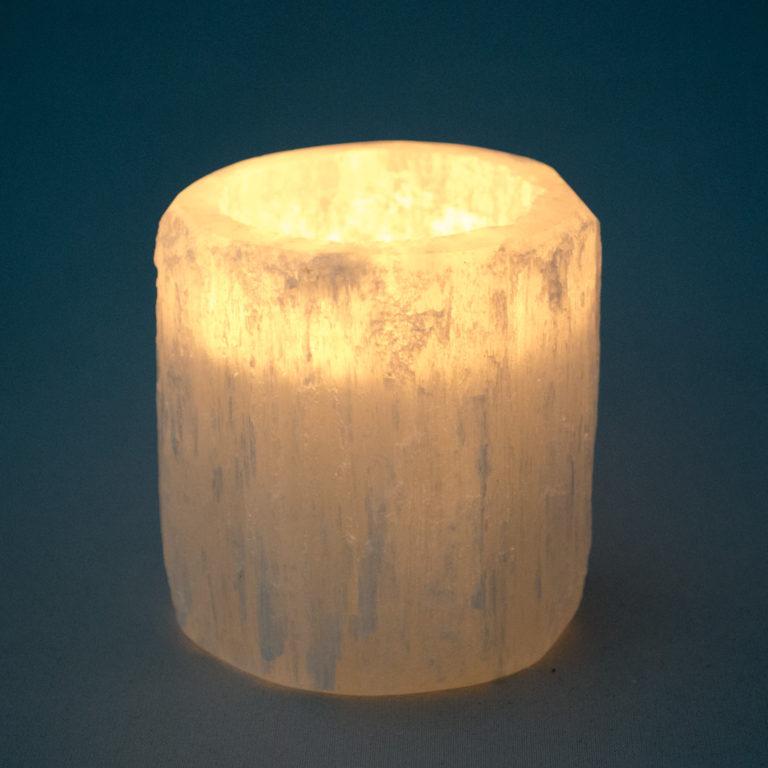 Mini Selenite Crystal Tea Light Holder