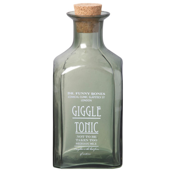Green Glass Giggle Tonic Bottle
