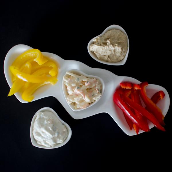 White Ceramic Heart Dish Set