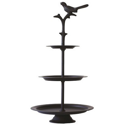 black metal bird cake stand - large