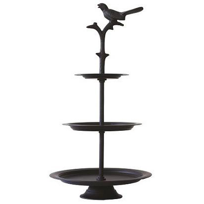 black metal bird cake stand - large