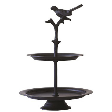 Black metal bird cake stand - small