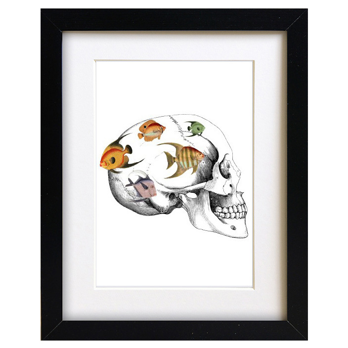 Quirky skull art print