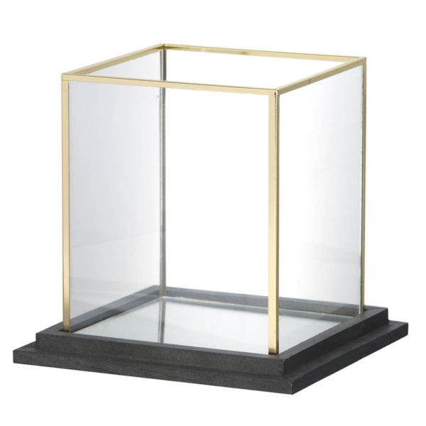 Large Brass Cube Candle Holder