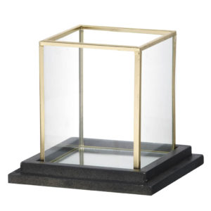 Small brass cube candle holder